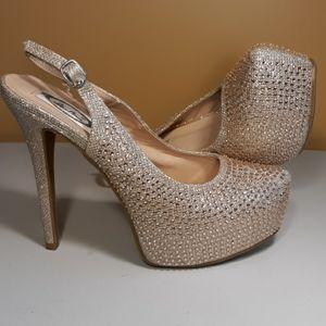ITALINA Rose Gold RHINESTONE Platform heels SZ 10